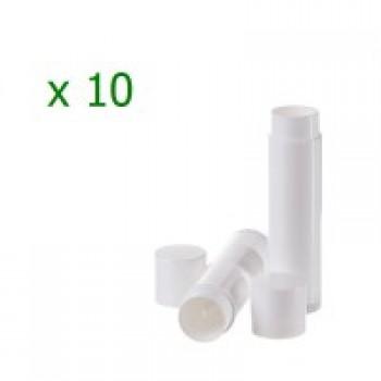 Pachet 10 bucati recipiente  stick albe  pentru balsam de buze